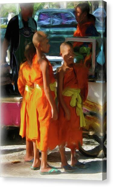 Little Novice Monks 1-cropped Canvas Print