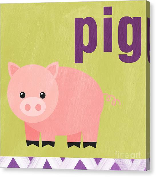 Childrens Room Canvas Print - Little Pig by Linda Woods