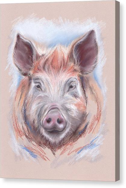 Canvas Print featuring the pastel Little Pig by MM Anderson
