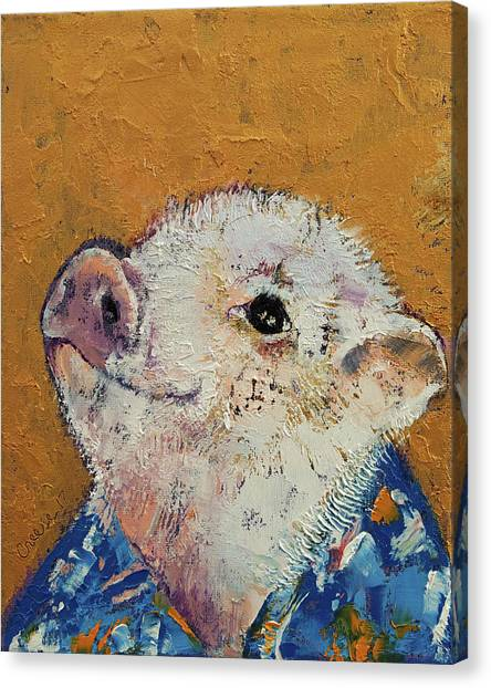 Pig Farms Canvas Print - Little Piggy by Michael Creese