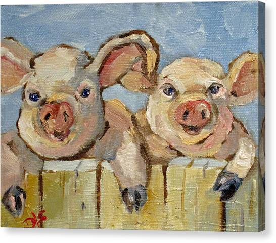 Little Pigs Canvas Print by Delilah  Smith