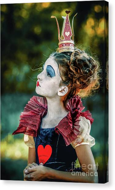 Canvas Print featuring the photograph Little Princess Of Hearts Alice In Wonderland by Dimitar Hristov