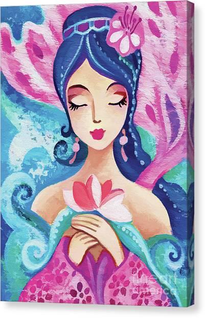 Little Quan Yin Mermaid Canvas Print