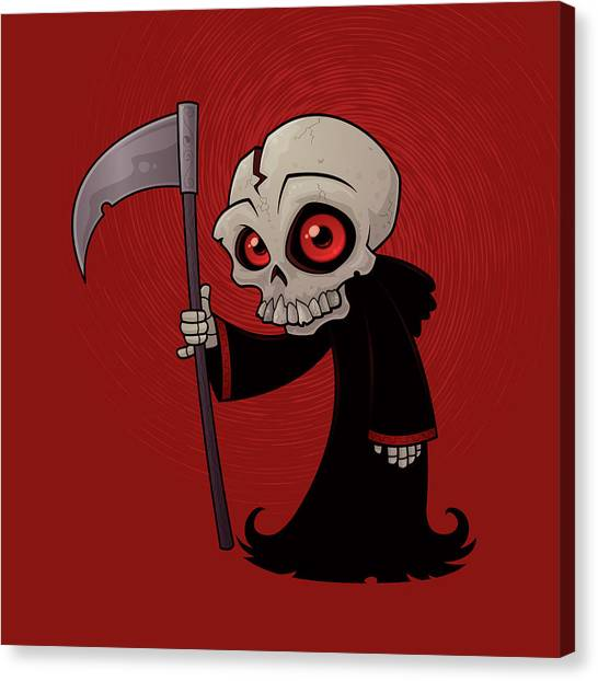 Skeleton Canvas Print - Little Reaper by John Schwegel