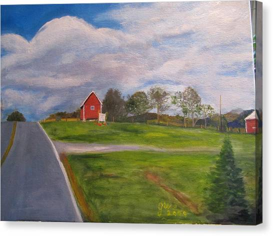 Little Red Barn On Detrick Rd Canvas Print by Gloria Condon