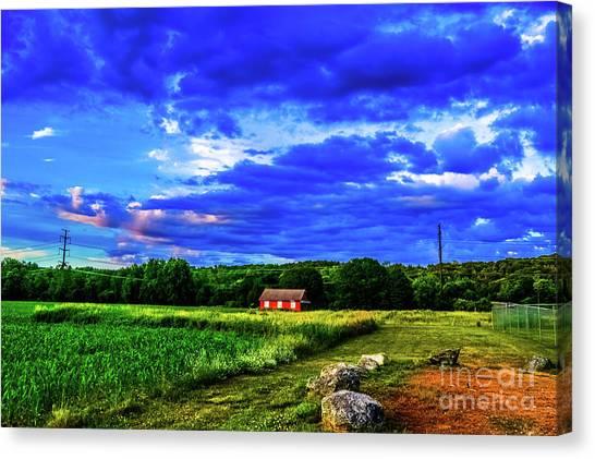 Corn Maze Canvas Print - Little Red House In A Field by Jordan Erhardt