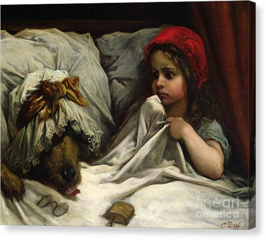 Girl Canvas Print - Little Red Riding Hood by Gustave Dore