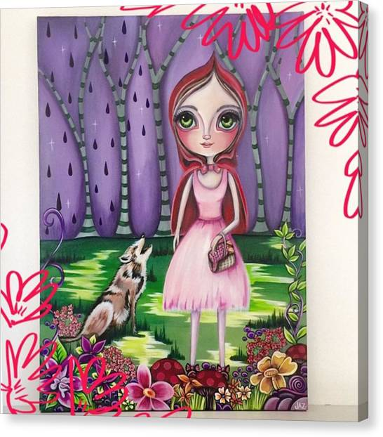 Surrealism Canvas Print - little Red Riding Hood Painting by Jaz Higgins