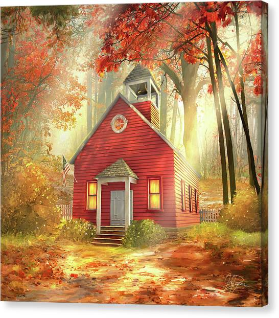 Little Red Schoolhouse Canvas Print