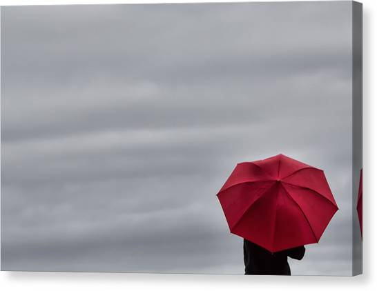 Little Red Umbrella In A Big Universe Canvas Print