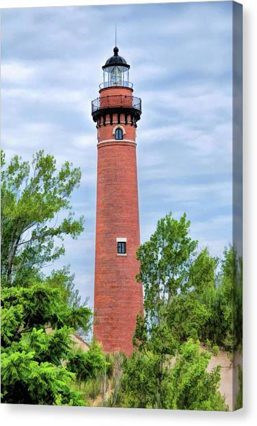 Canvas Print featuring the painting Little Sable Lighthouse by Christopher Arndt