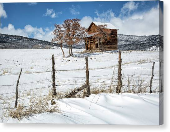 Canvas Print featuring the photograph Little Shack In Winter by Denise Bush