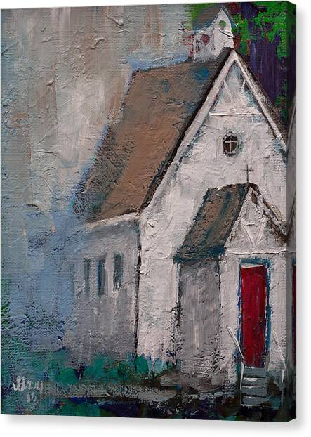 Little White Church On The Corner Christian Painting  Canvas Print