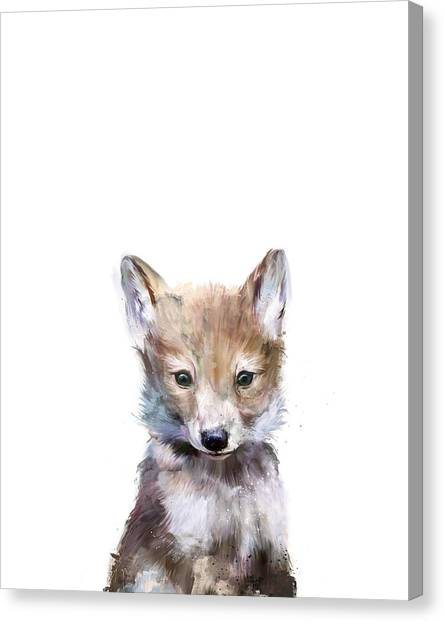 Baby Canvas Print - Little Wolf by Amy Hamilton