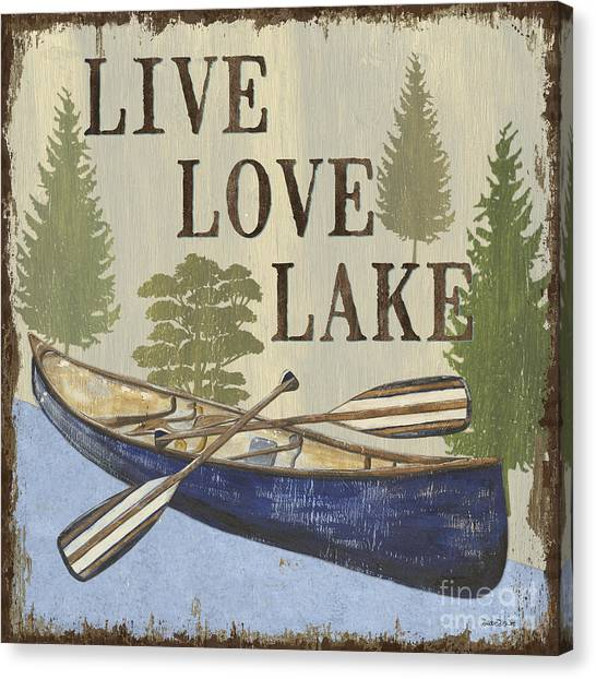 Mountain Cabin Canvas Print - Live, Love Lake by Debbie DeWitt