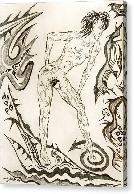 Live Nude 3 Female Canvas Print