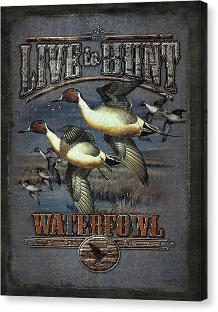 Ducks Canvas Print - Live To Hunt Pintails by JQ Licensing