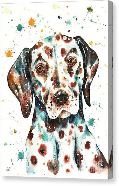 Doberman Pinschers Canvas Print - Liver-spotted Dalmatian by Zaira Dzhaubaeva