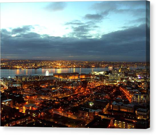 Liverpool City And River Mersey Canvas Print