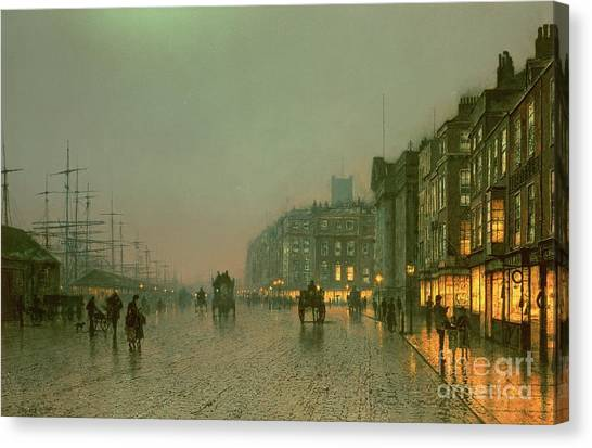 Night Lights Canvas Print - Liverpool Docks From Wapping by John Atkinson Grimshaw