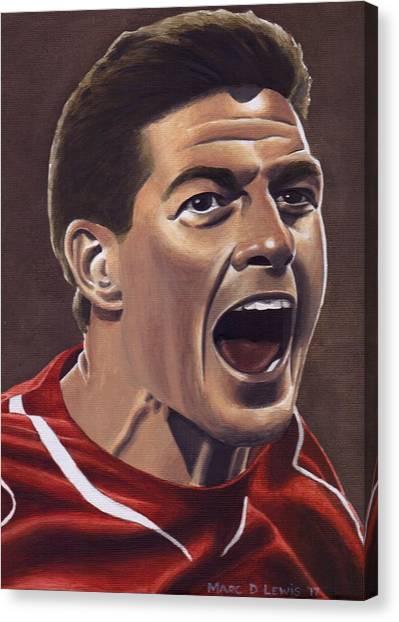 Liverpool Fc Canvas Print - Liverpool Fc - Steven Gerrard by Marc D Lewis
