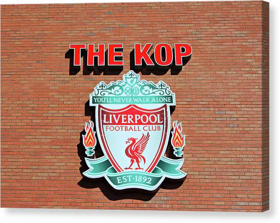 British Premier League Canvas Print - Liverpool Football Club Crest On The New Main Stand by Ken Biggs