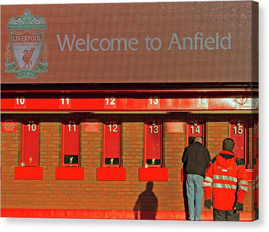 British Premier League Canvas Print - Liverpool Football Club Ticket Office by Ken Biggs