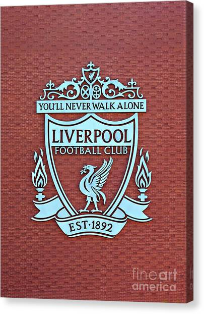 British Premier League Canvas Print - Liverpool Uk. 17th Sepember 2016. Liverpool Football Club Crest On The New Main Stand by Ken Biggs