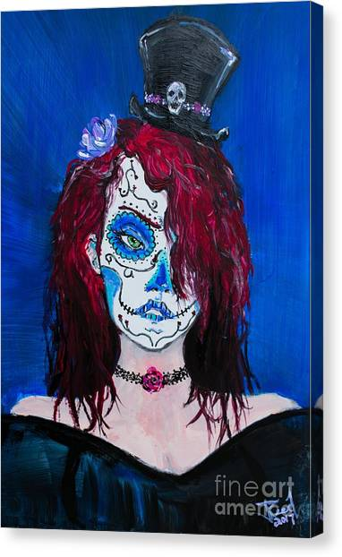 Canvas Print featuring the painting Living Dead Girl by Reed Novotny
