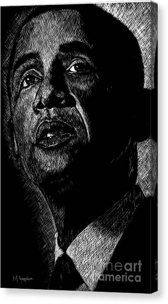 Barack Obama Canvas Print - Living The Dream by Maria Arango