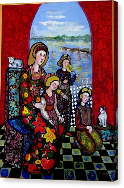Liz Combing Madeline In Portsmouth Canvas Print by Marilene Sawaf