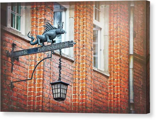 Salamanders Canvas Print - Lizard Street Lamp In Gdansk Poland  by Carol Japp