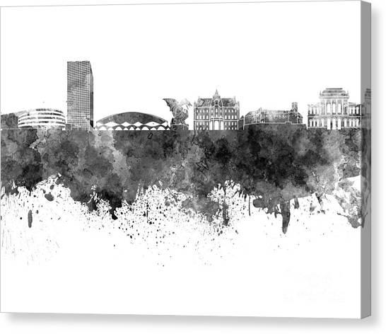 Ljubljana Canvas Print - Ljubljana Skyline In Black Watercolor On White Background by Pablo Romero