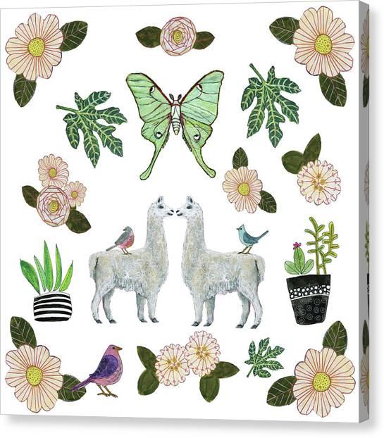 Llamas Canvas Print - Llama And Luna Moth Pattern by Blenda Studio
