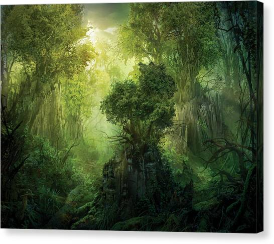 Fantasy Canvas Print - Llanowar Reborn by Philip Straub