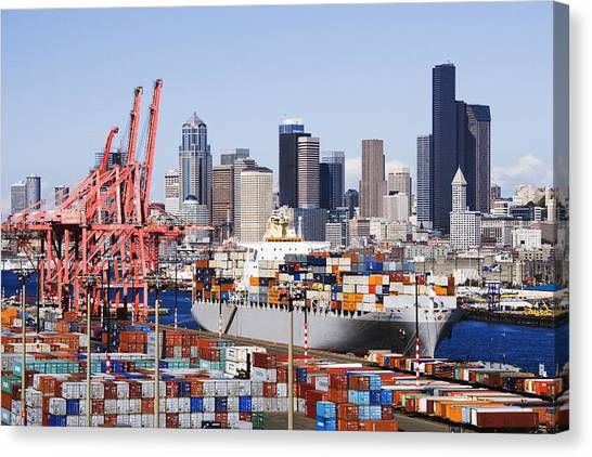 Architectural Detail Canvas Print - Loaded Container Ship In Seattle Harbor by Jeremy Woodhouse