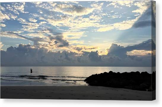 Lone Fishing Canvas Print