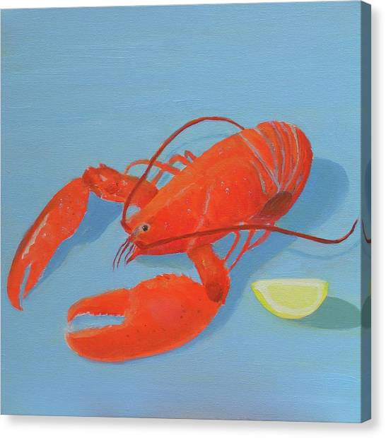 Lobster And Lemon Canvas Print