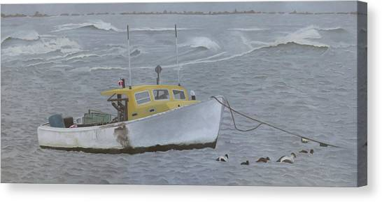 Lobster Boat In Kettle Cove Canvas Print