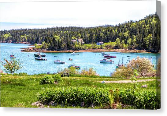 Canvas Print featuring the photograph Lobster Boats  by Betty Pauwels