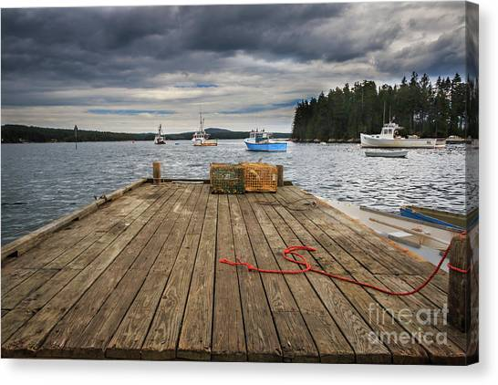 Lobster Boats Of Winter Harbor Canvas Print
