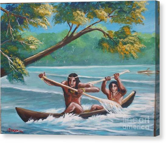 Locals Rowing In The Amazon River Canvas Print