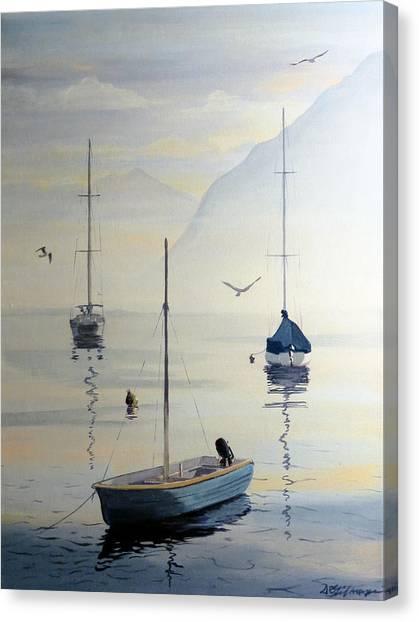 Locarno Boats In February Canvas Print