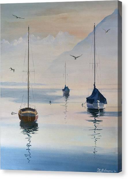 Locarno Boats In February-2 Canvas Print
