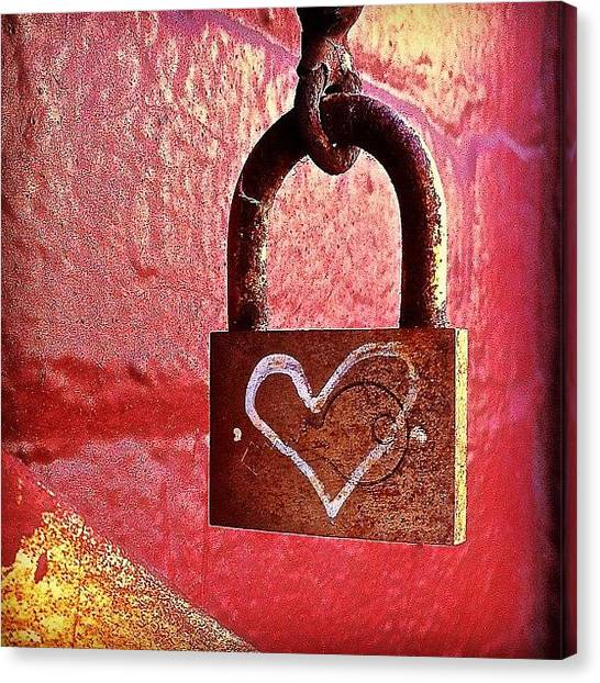 Colorful Canvas Print - Lock/heart by Julie Gebhardt