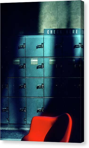 Lockers And Red Chair Canvas Print