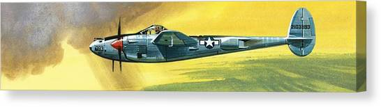 Airplanes Canvas Print - Lockheed P-38j Lightning by Wilf Hardy