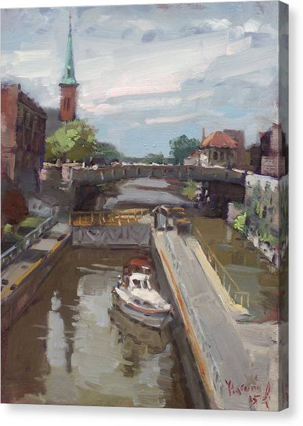 Lock Canvas Print - Lockport Locks by Ylli Haruni