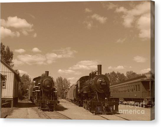 Locomotives In Sepia Canvas Print by Charles Robinson