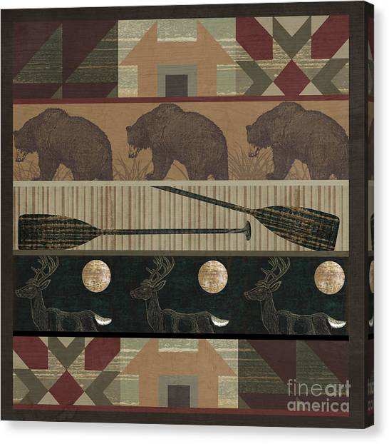 Log Cabin Canvas Print - Lodge Cabin Quilt by Mindy Sommers